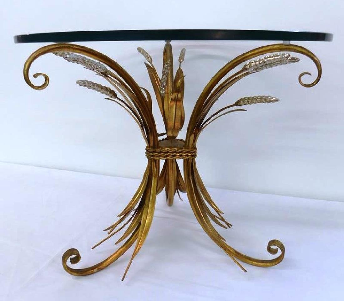 GILT HOLLYWOOD REGENCY SHEAVES OF WHEAT TABLE