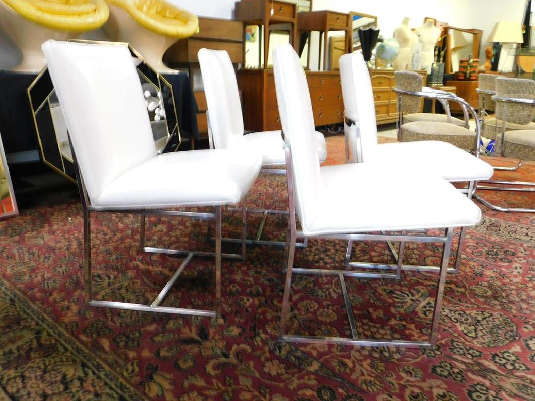 4 CHROME WITH WHITE LEATHER DINING CHAIRS
