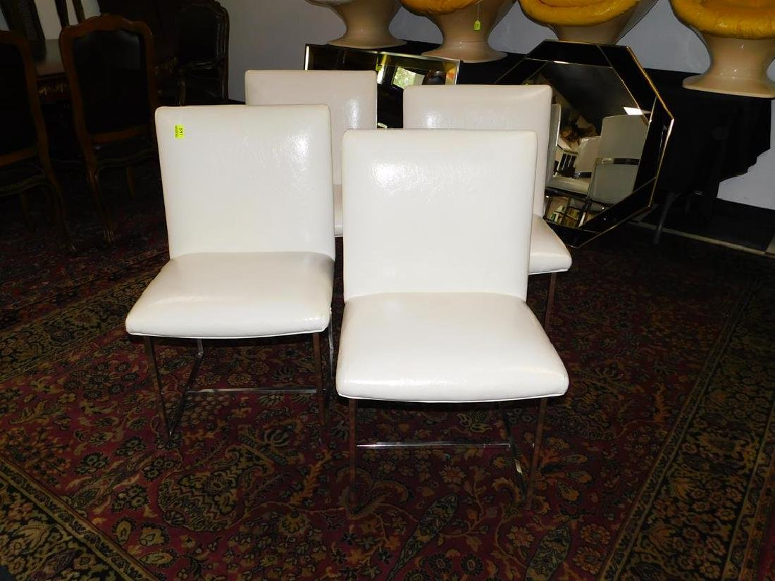 4 CHROME WITH WHITE LEATHER DINING CHAIRS - 2