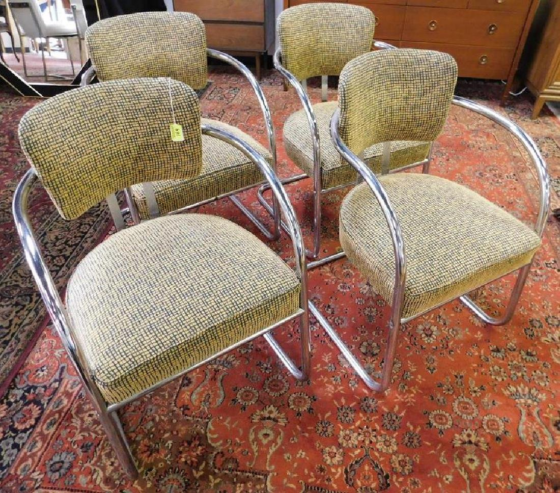 4 CHROME CANTILEVER CHAIRS