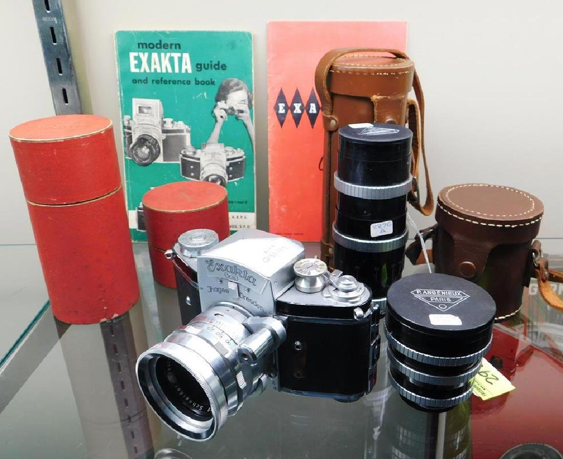 EXAKTA CAMERA WITH LENSES AND CASES, MANUALS