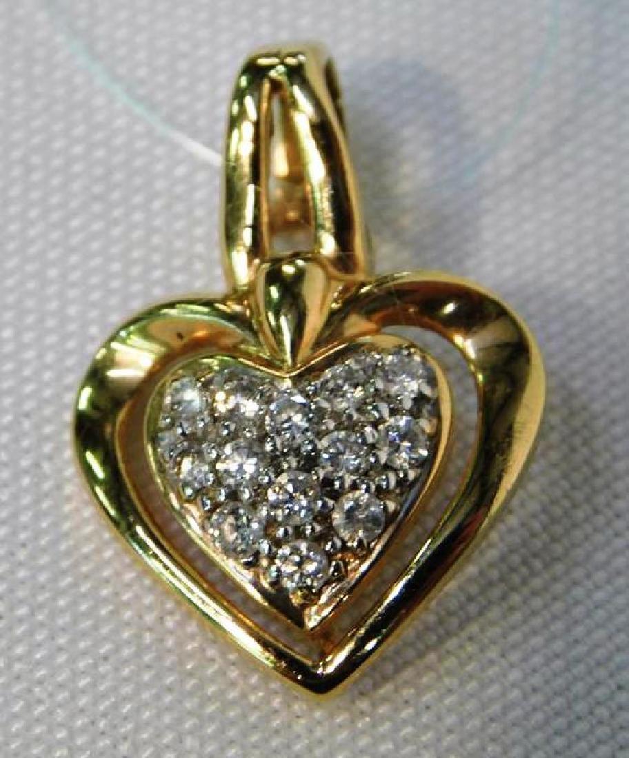 14K GOLD WITH DIAMOND HEART PENDANT