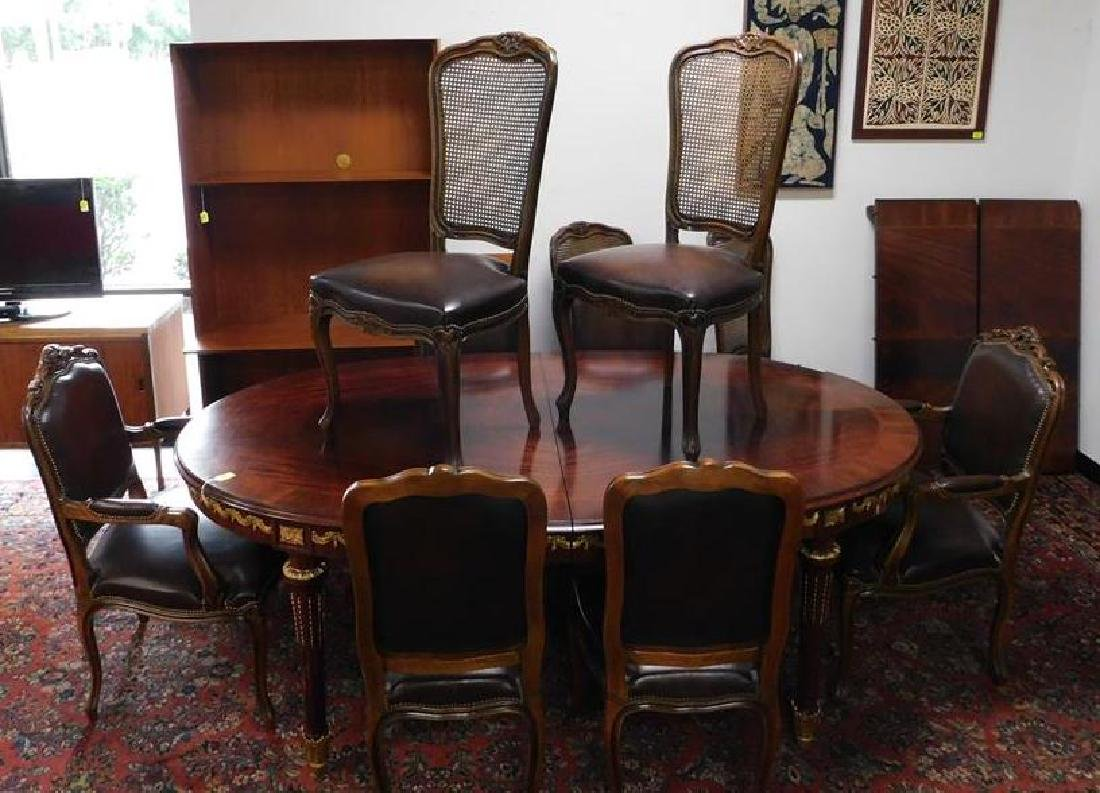 GILT DINING TABLE WITH 10 DINING CHAIRS