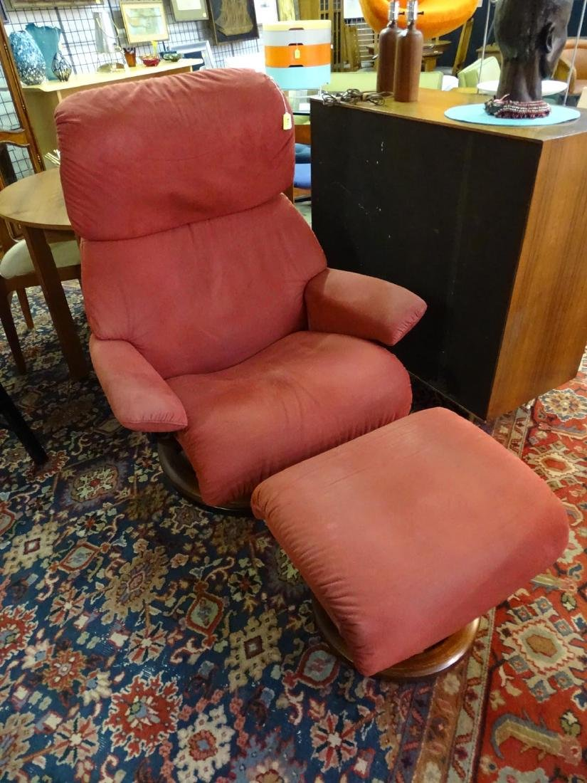 RED STRESSLESS RECLINER WITH OTTOMAN