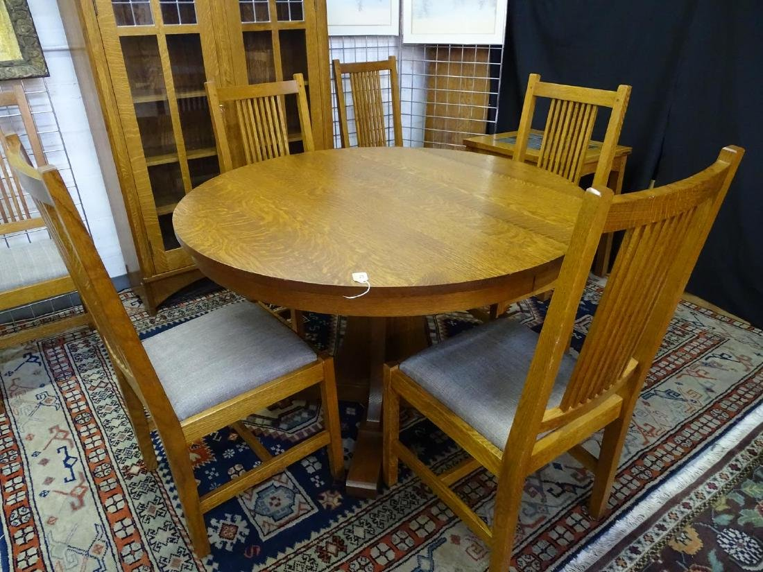 STICKLEY DINETTE, TABLE AND 6 CHAIRS