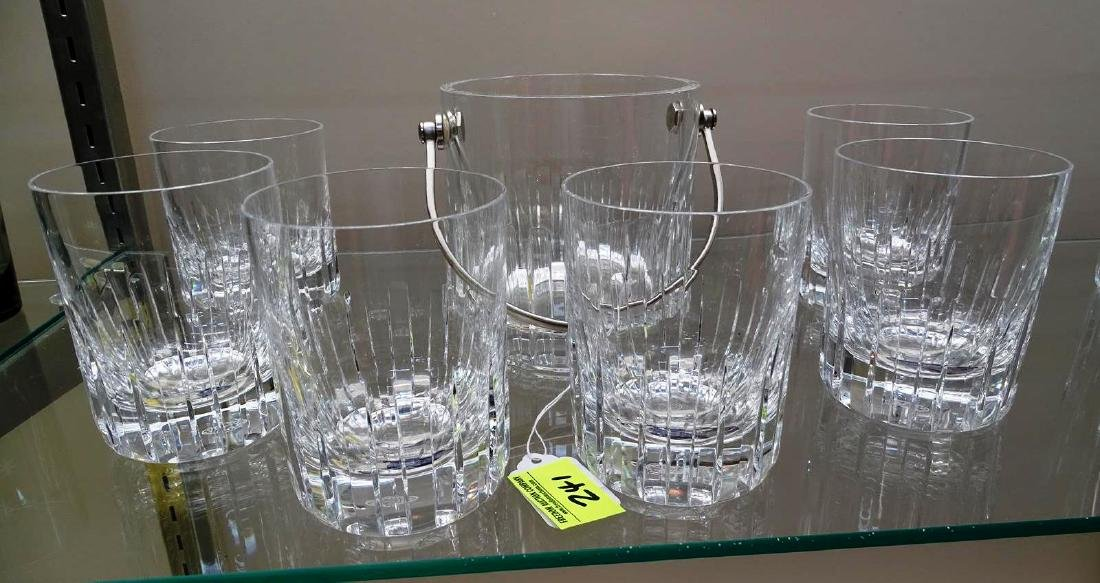 6 BACCARAT HIGH BALL GLASSES WITH ICE BUCKET