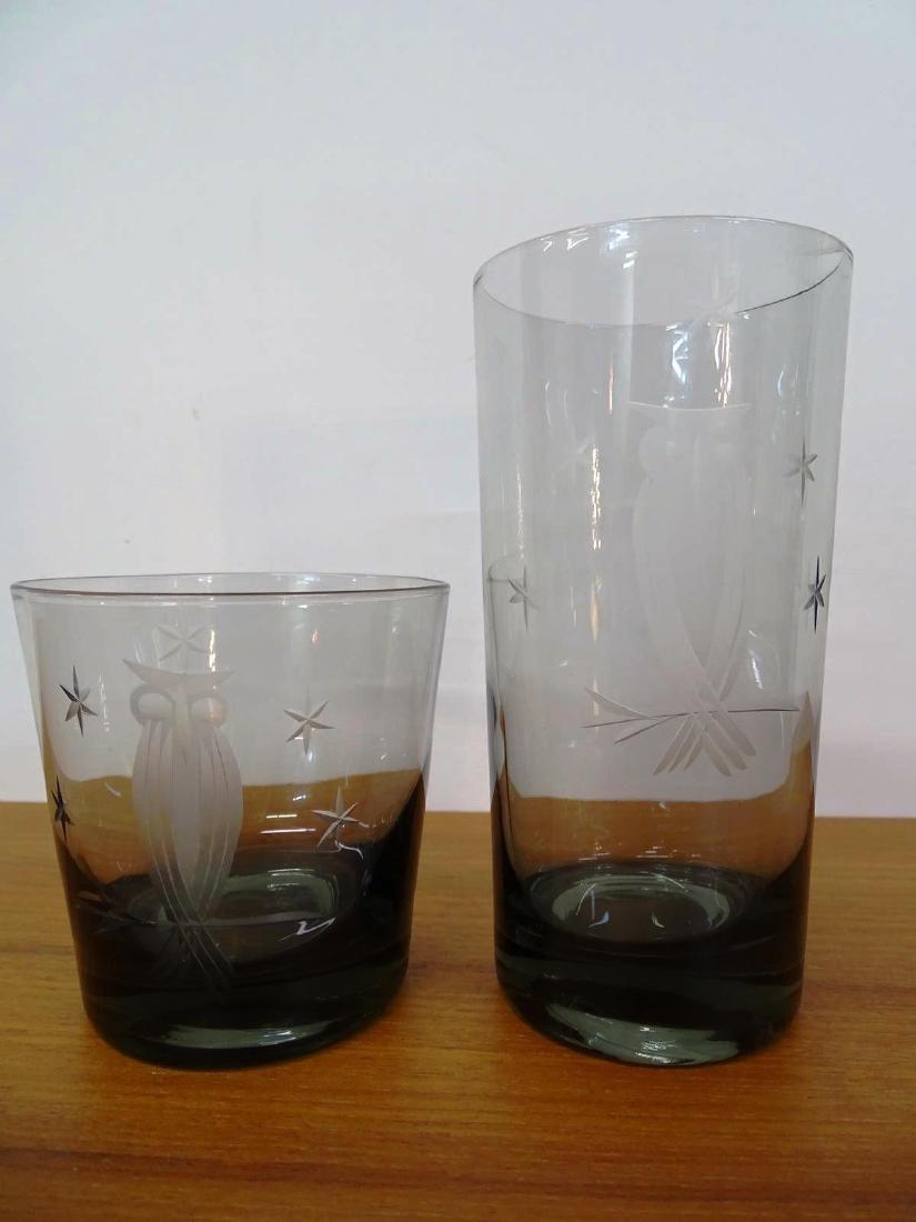 15 PC. VINTAGE BAR GLASSES, STAR AND OWL MOTIF - 3