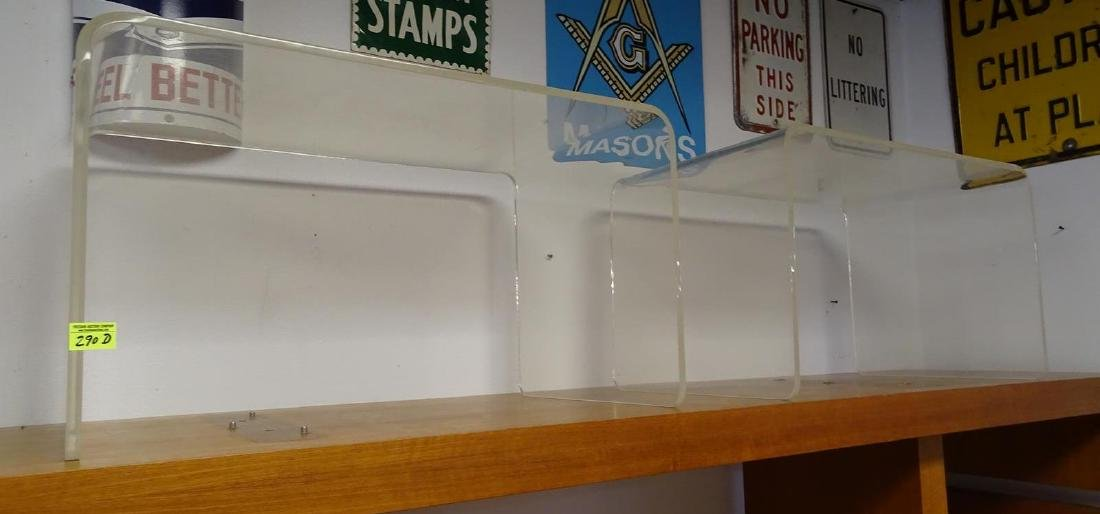 PAIR OF BENT LUCITE SIDE TABLES