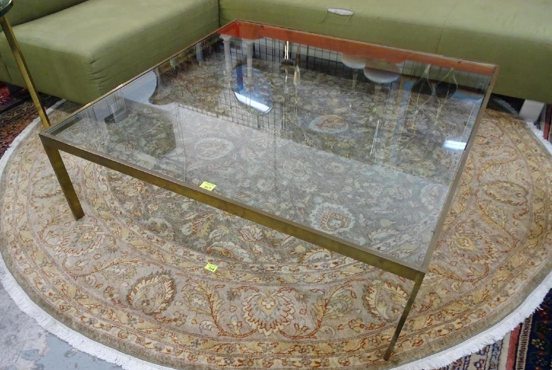 MILO BAUGHMAN (ATTR.) BRASS AND GLASS COFFEE TABLE