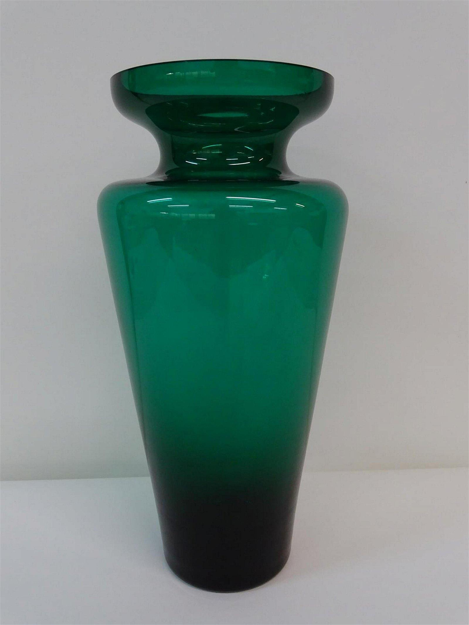 LARGE GREEN ART GLASS VASE