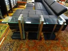 3 COPENHAGEN GLASS SIDE TABLES