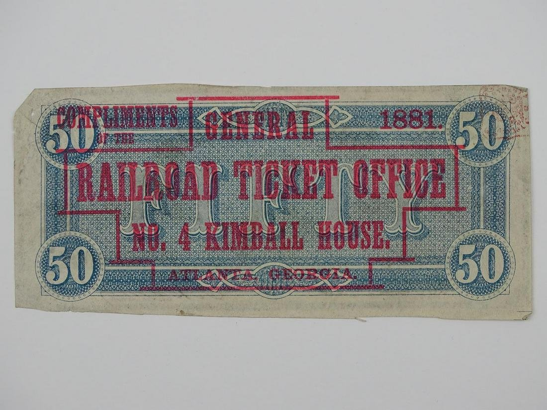 $50 CONFEDERATE NOTE - RAILROAD TICKET