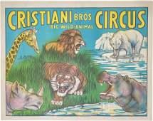 CRISTIANI BROS. BIG WILD ANIMAL CIRCUS POSTER