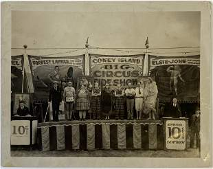 CONEY ISLAND SIDESHOW LINE-UP PHOTOGRAPH