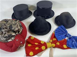 GROUPING OF TOP HATS, CLOWN CAP AND NECK TIE