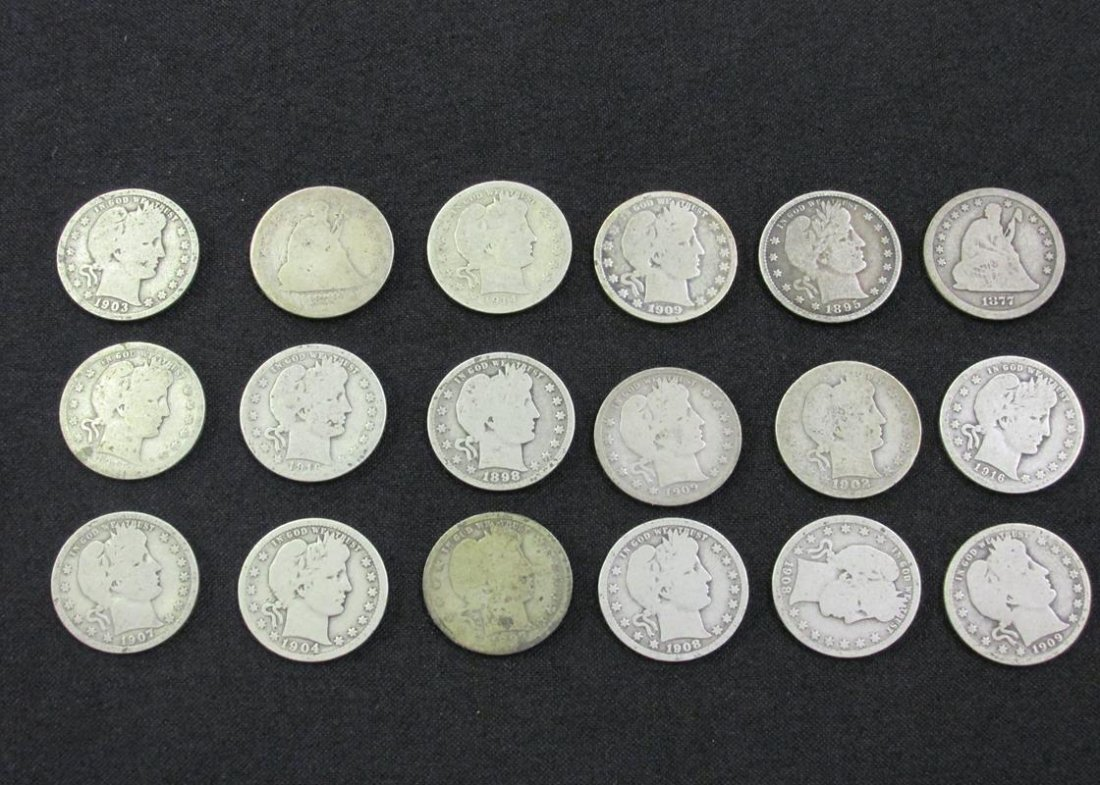 $4.50 FV BARBER & SEATED SILVER QUARTERS