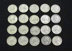 5 FV WASHINGTON SILVER QUARTERS