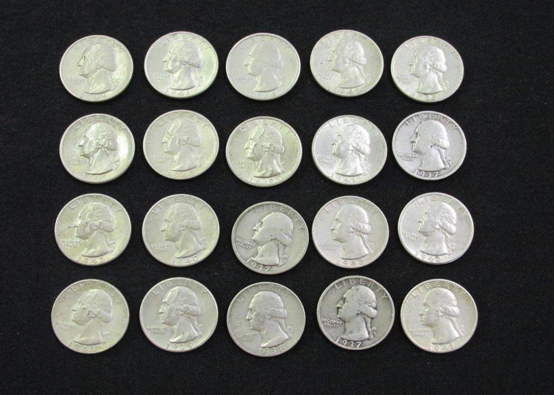 $5 FV WASHINGTON SILVER QUARTERS