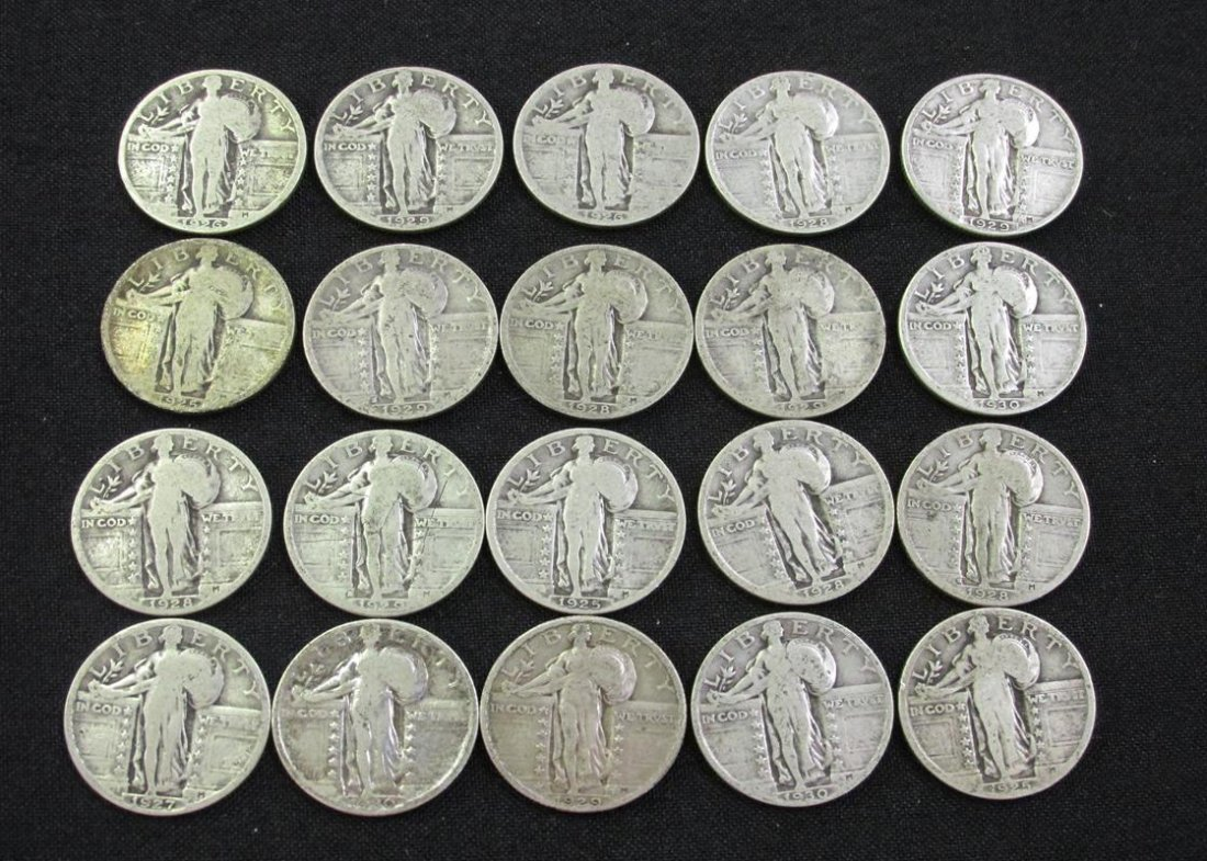 $5 FV STANDING LIBERTY SILVER QUARTERS