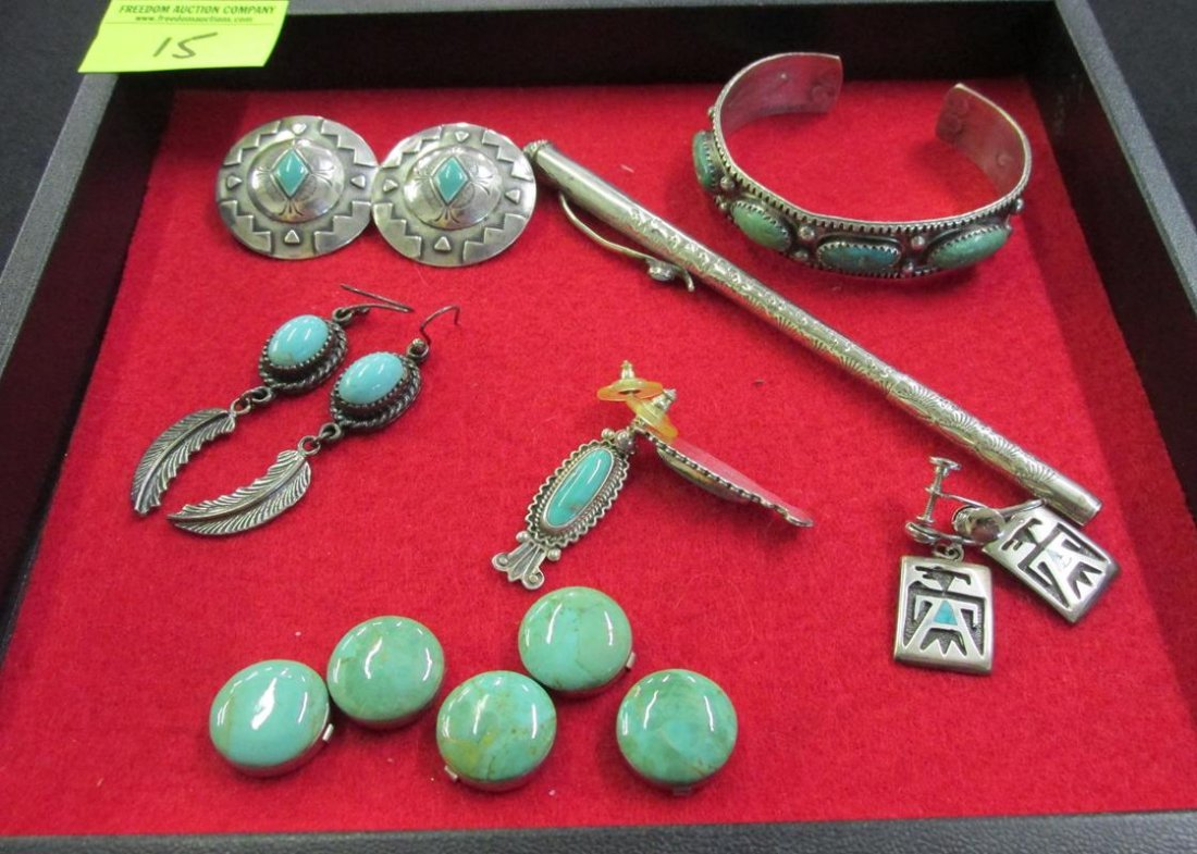 LOT OF NATIVE AMERICAN SILVER ITEMS