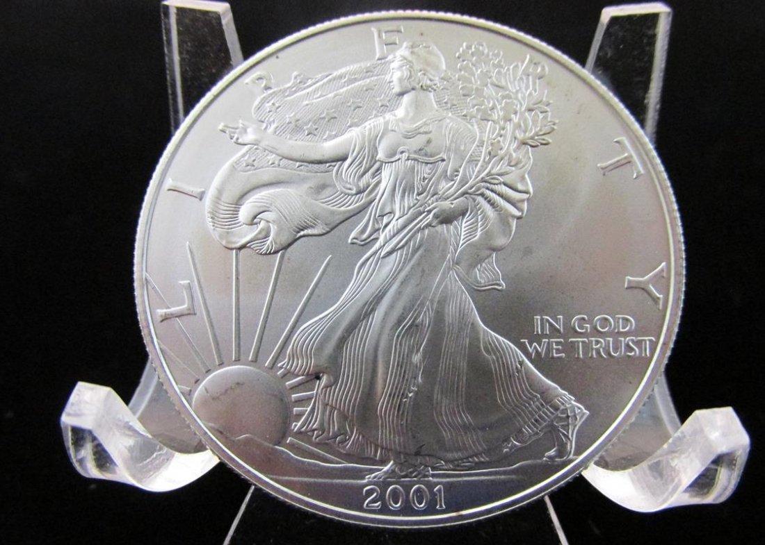 2001 AMERICAN SILVER DOLLAR, BU