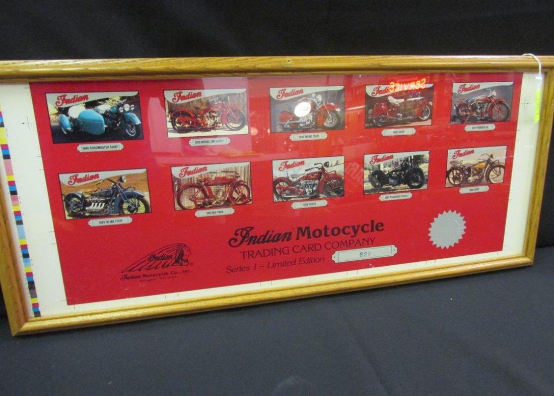 INDIAN MOTORCYCLE TRADING CARD CO., UNCUT, FRAMED