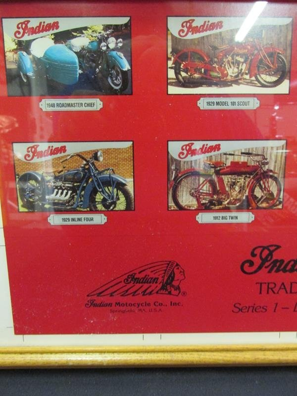 INDIAN MOTORCYCLE TRADING CARD CO., UNCUT, FRAMED - 2