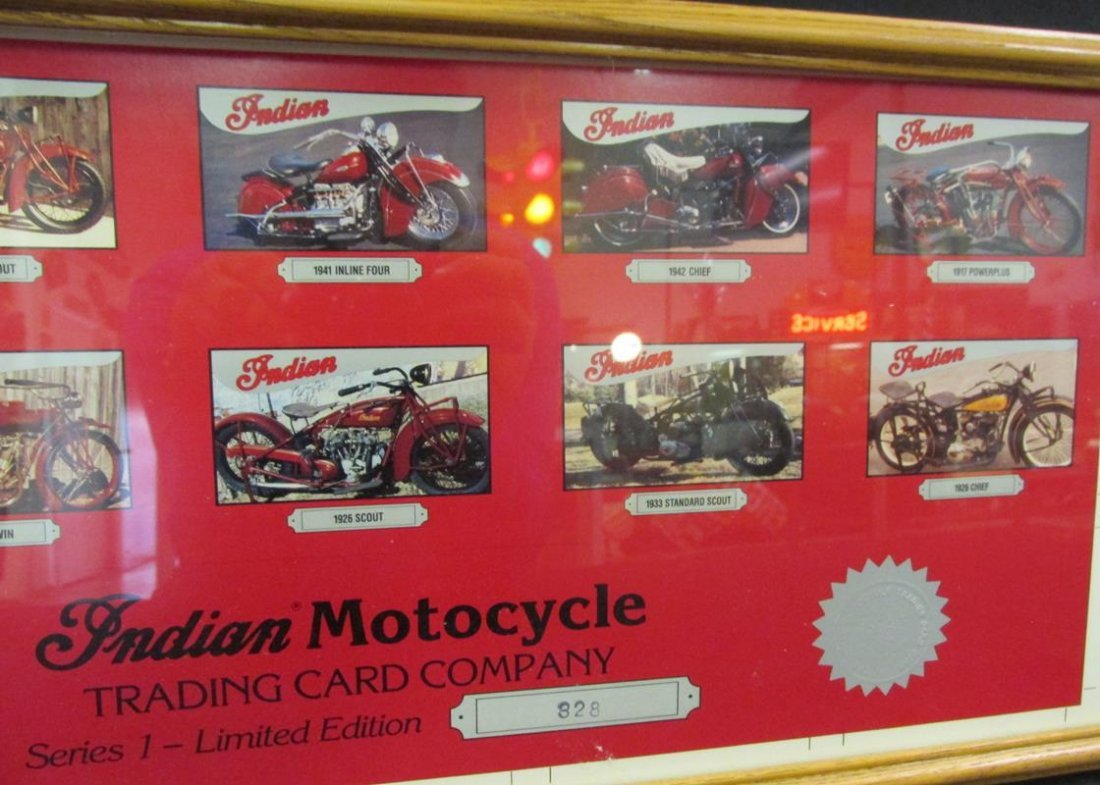 INDIAN MOTORCYCLE TRADING CARD CO., UNCUT, FRAMED - 3
