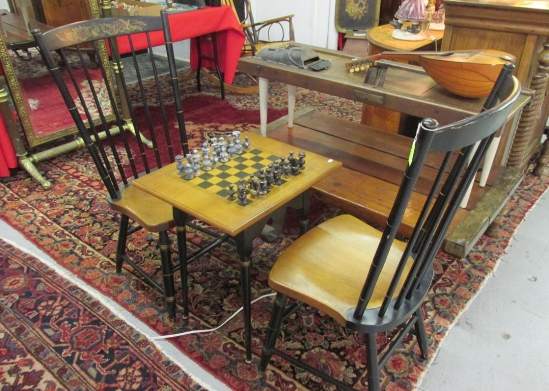 HITCHCOCK CHESS TABLE AND TWO CHAIRS
