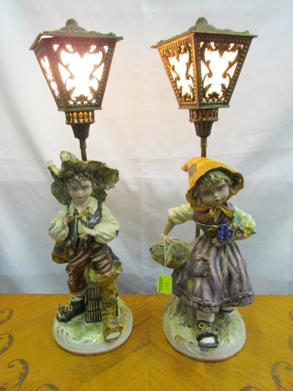 ITALIAN HAND-PAINTED JUVENILE TABLE LAMPS