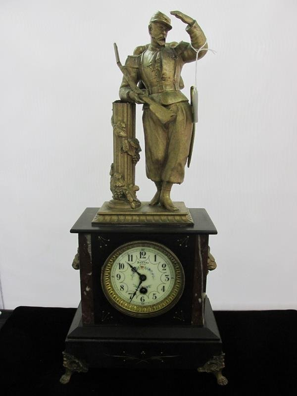 BOUTRY LILLE, FRENCH MILITARY MOTIF CLOCK