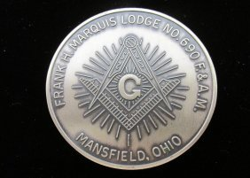 Masonic Medal, Sterling Silver, 5.7 Ounces