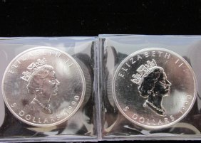 Pair Of 1990 Canadian Maple Leaf One Ounce Silver Coins