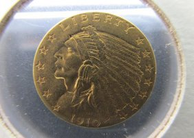 1910 Us $2 1/2 Gold Indian Coin