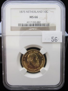1875 Netherlands 10 Gulden Gold Coin