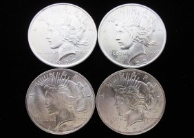 1922 Peace Silver Dollars, Lot Of 4 Super Sliders