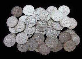 Lot Of 40 Franklin Half Dollars, Assorted Dates