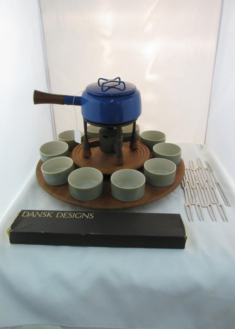 DANSK BLUE FONDUE POT WITH SKEWERS, DIGSMED LAZY SUSAN,