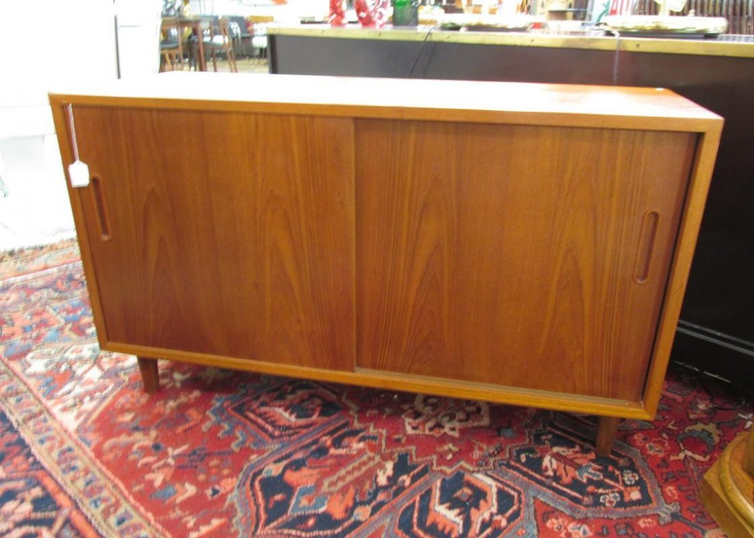 DANISH TEAK MEDIA STAND, REAR PANEL HAS BEEN CUT-OUT