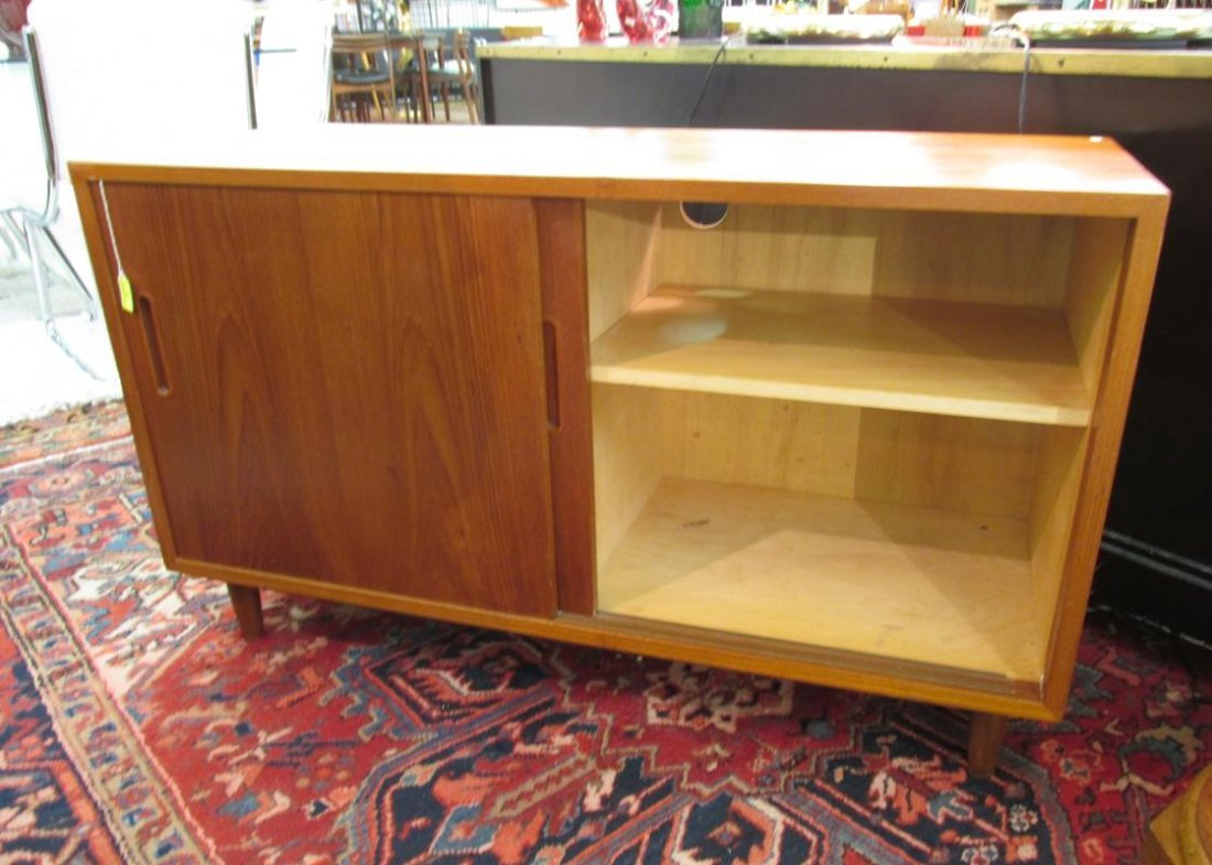 DANISH TEAK MEDIA STAND, REAR PANEL HAS BEEN CUT-OUT - 2
