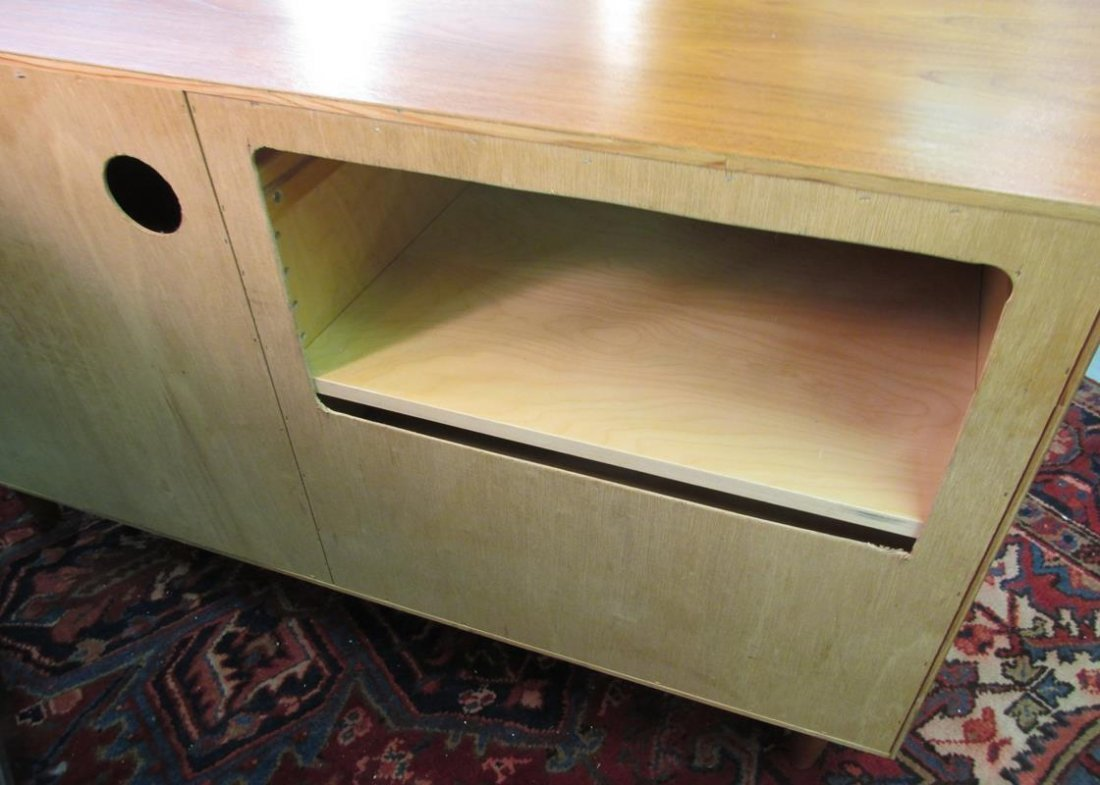 DANISH TEAK MEDIA STAND, REAR PANEL HAS BEEN CUT-OUT - 3