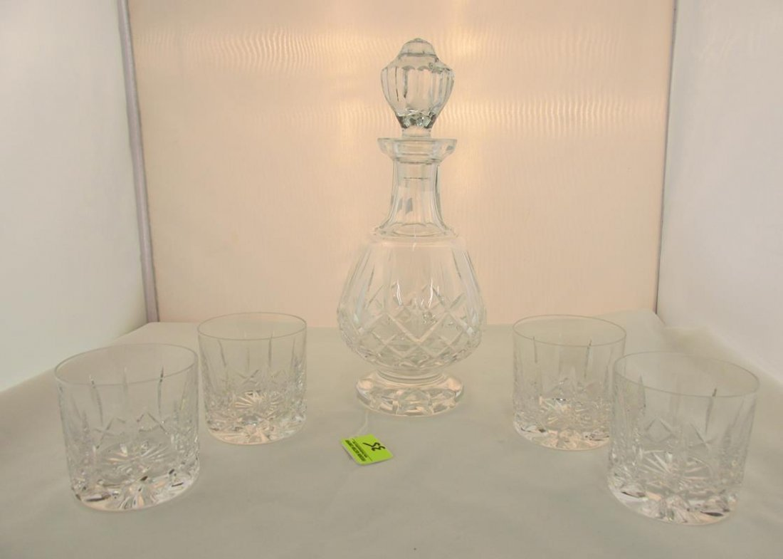 WATERFORD CRYSTAL DECANTER WITH ATLANTIS ROCKS GLASSES
