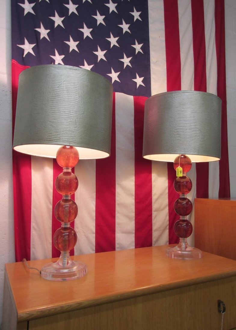 PAIR OF LUCITE BALL TABLE LAMPS