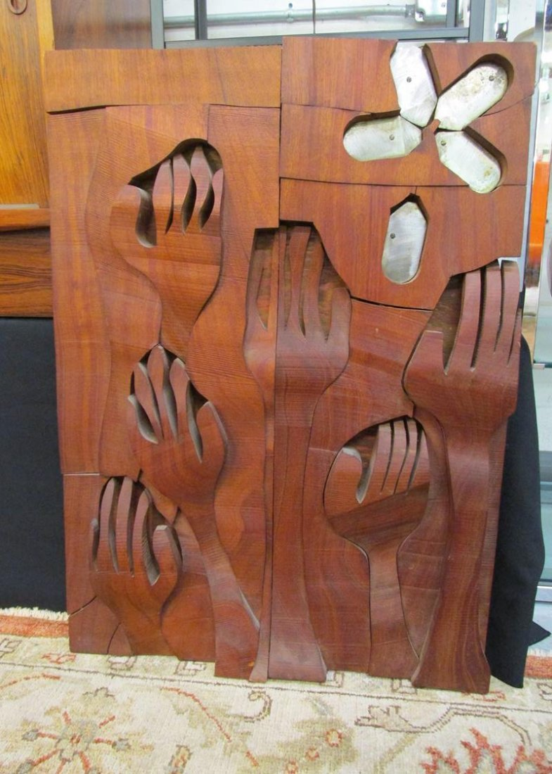 "WOOD AND METAL ""HANDS"" WALL ART SCULPTURE"