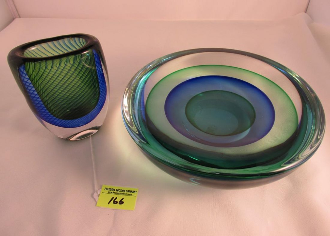 ART GLASS PAIR, KOSTA AND SIGNED DISH
