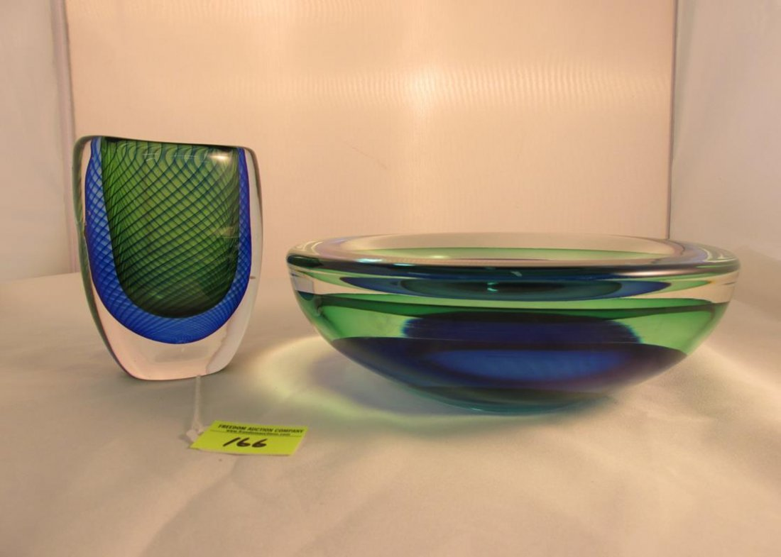 ART GLASS PAIR, KOSTA AND SIGNED DISH - 2