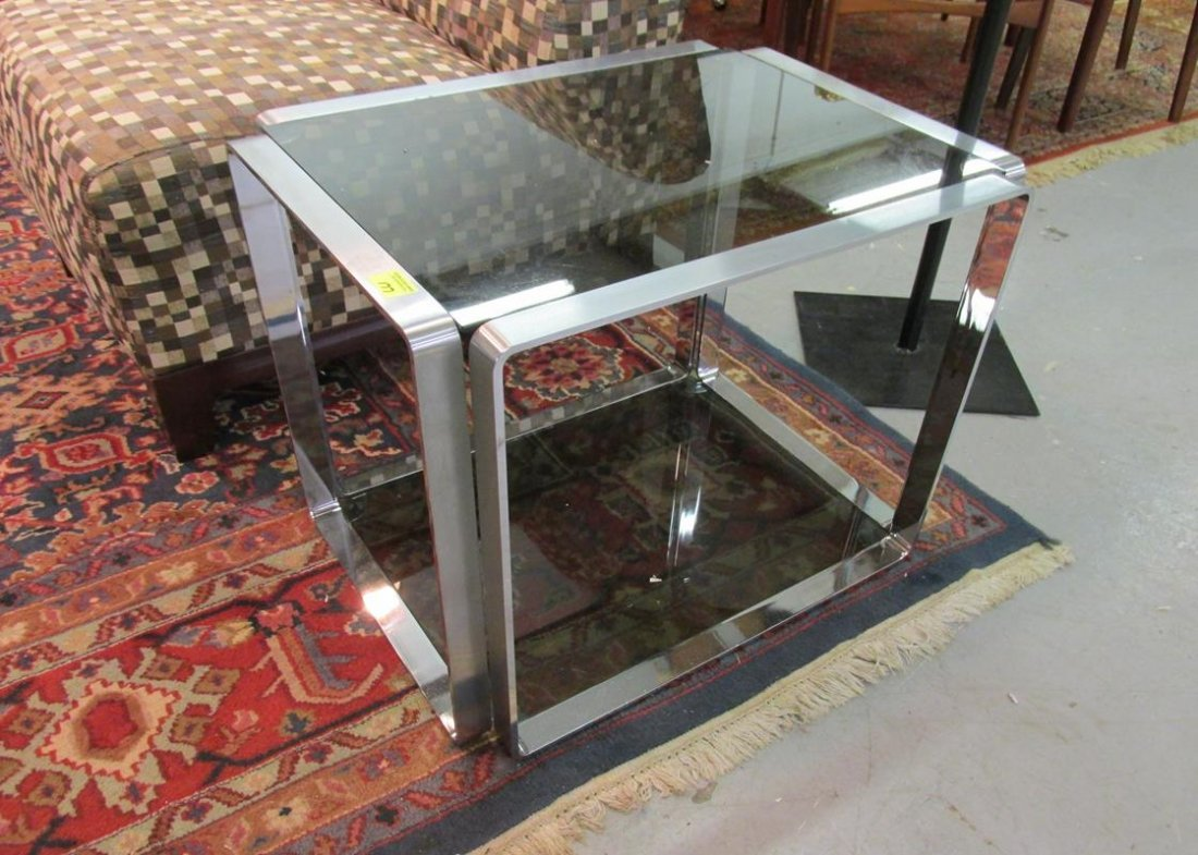 CHROME WITH SMOKED GLASS END TABLE