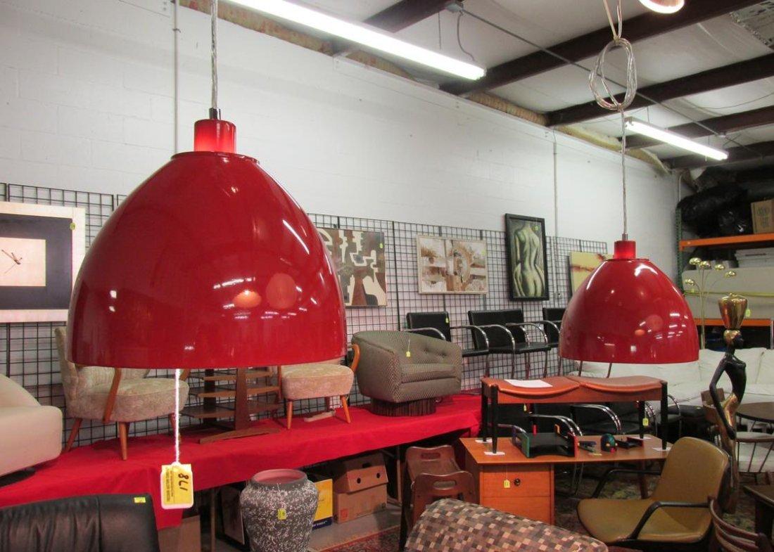 PAIR OF RED ENAMEL PENDANT LAMPS