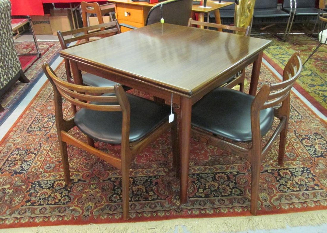 DANISH ROSEWOOD DINING TABLE AND 4 CHAIRS