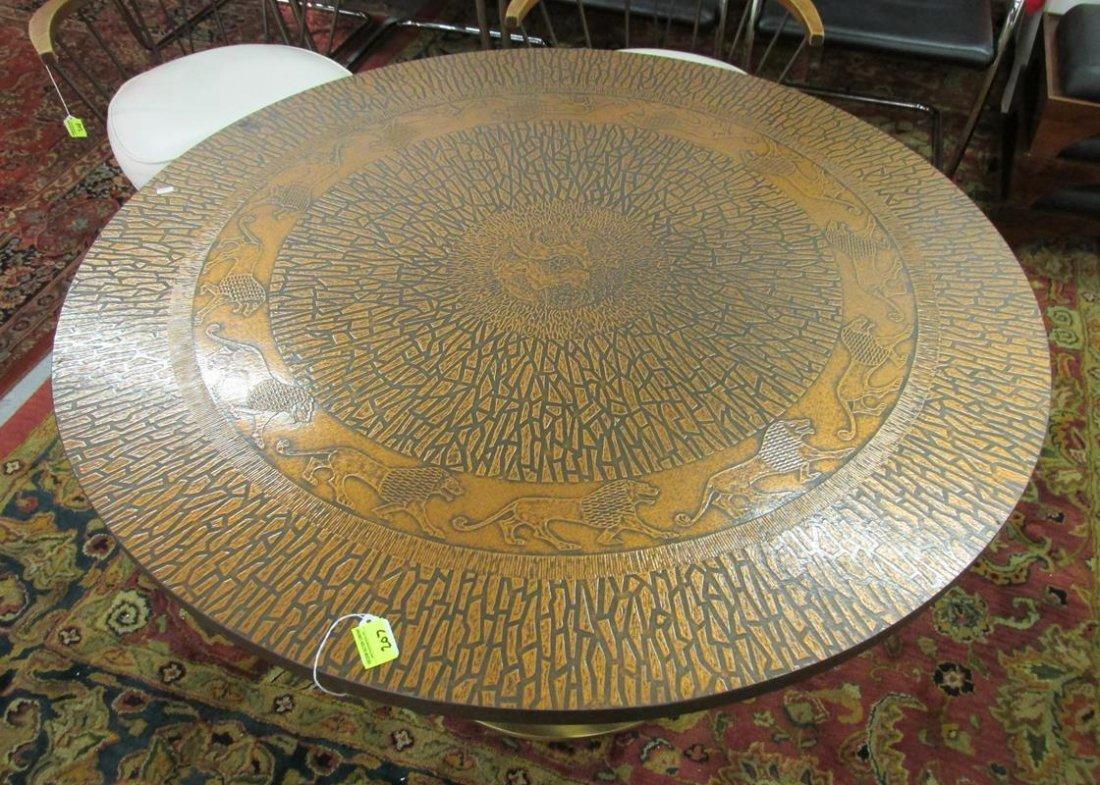 COPPER TOP, CIRCULAR LION MOTIF TABLE